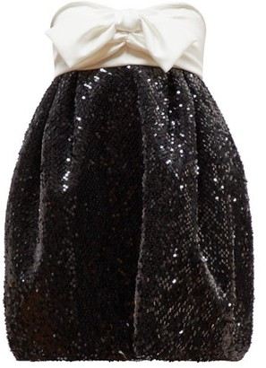 Alexandre Vauthier Bow-embellished Sequinned Dress - Womens - Black White