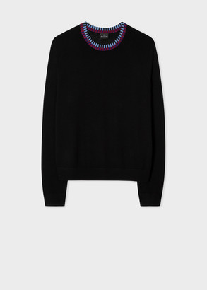 Women's Black Sweater With Contrast Collar