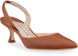 Manolo Blahnik Carolyne Low-Heel Leather Slingback Pumps