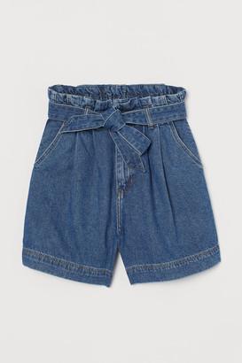 H&M Denim Paper-bag Shorts - Blue