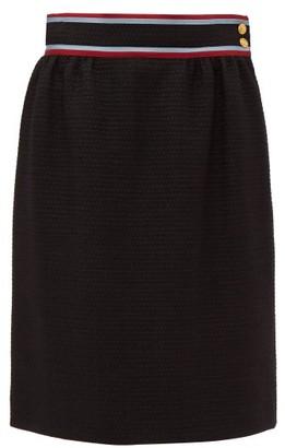 Gucci Contrast-waistband Tweed Skirt - Womens - Black Multi