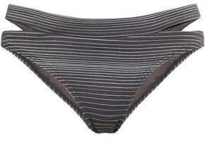 Jets Illusions Cutout Striped Low-rise Bikini Briefs