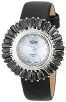 Burgi Women's BUR092BK Black Crystal Accented Swiss Quartz Watch with Blue Mother of Pearl Dial and Black Fabric Strap