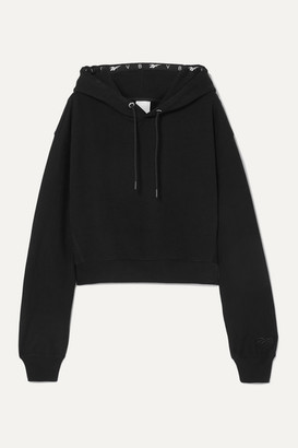 Reebok x Victoria Beckham Cropped Embroidered Cotton-jersey Hoodie - Black