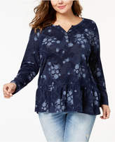 Style&Co. Style & Co Plus Size Printed Ruffled Henley Top, Created for Macy's