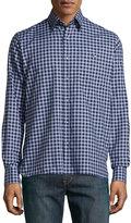 Ike Behar Check Sport Shirt, Brown/Blue