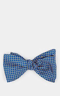Barneys New York MEN'S CHAIN-PRINT SILK BOW TIE - NAVY