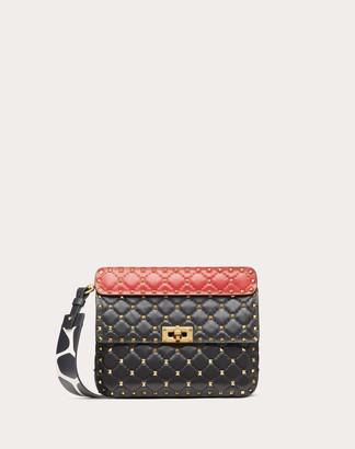 Valentino Garavani Medium Rockstud Spike.it Nappa Bag With Giraffe Print Strap Women Black/pure Red 100% Lambskin OneSize