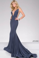 Jovani V Neckline Long Jersey Prom Dress 46756