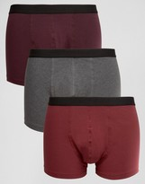 Asos Trunks In Burgundy 3 Pack Save