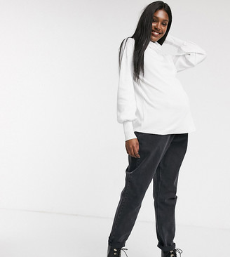 ASOS DESIGN Maternity relaxed top with slouchy roll neck in white
