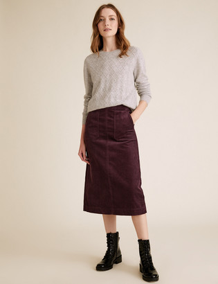 Marks and Spencer Cord Midi A-Line Skirt