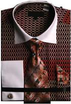 Sunrise Outlet Men`s Wavy Print Two Tone French Cuff Shirt Tie Hanky Cufflinks - 18.5 36-37