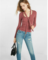 Express simple stripe ribbed tie neck tee