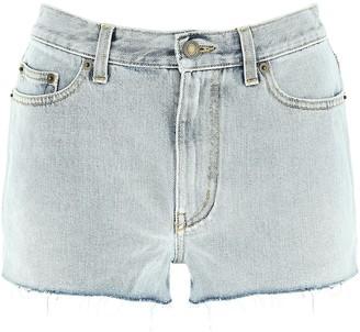 Saint Laurent Ripped Detail Mini Denim Shorts
