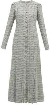 Brock Collection Palagno Crystal-button Wool-blend Tweed Coat - Womens - Blue