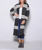 Paparazzi Black & Beige Stripe Open Cardigan