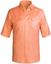 Specially made Solid Linen-Blend Shirt - Short Sleeve (For Big Men)