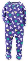 Carter's Hearts Zip-Front Footed Pajama in Purple