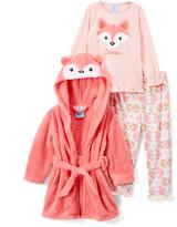 Orane & Pink Geometric 'Dreamer' Fox Pajama Set & Robe - Girls