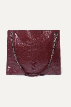 Saint Laurent Niki Large Quilted Crinkled Glossed-leather Tote - Burgundy