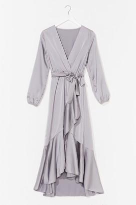 Nasty Gal Womens Best Dressed Satin Wrap Dress - Grey