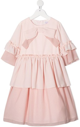 Patachou Front Bow Tiered Dress