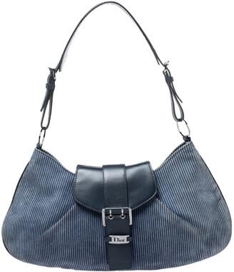 Christian Dior Blue Denim Lady's Corduroy Blues Shoulder Bag