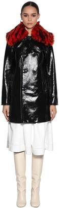 Marni Patent Leather Coat W/ Fur Collar