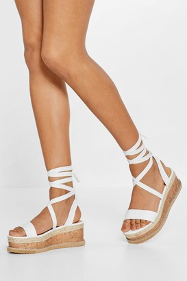Nasty Gal Womens Tied and Tested Wrap Cork Sandals - White