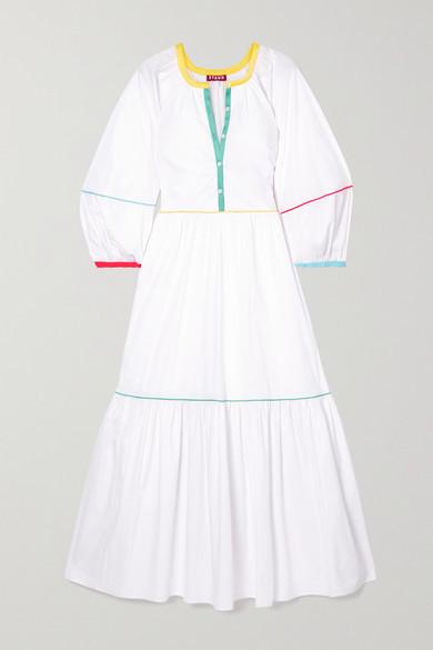 STAUD Tiered Cotton-blend Poplin Maxi Dress - White