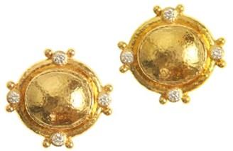 Elizabeth Locke 19K Yellow Gold & Diamond Stud Earrings