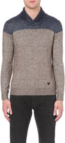 Armani Jeans Contrast-panel Knitted Jumper