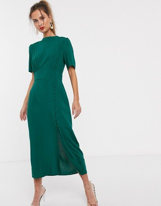 Asos DESIGN midi tea dress with buttons in forest green