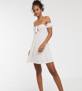 Asos Tall ASOS DESIGN Tall mini ribbed bardot sundress in white rainbow stripe