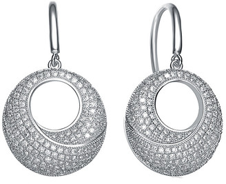 Genevive Silver Cz Round Earrings