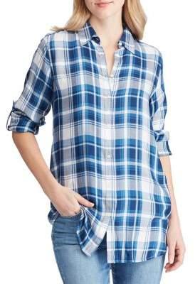 Lauren Ralph Lauren Petite Relaxed-Fit Plaid Twill Button-Down Shirt