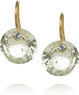 Marie Helene De Taillac Marie-Hélène de Taillac 18-karat gold, quartz and aquamarine earrings
