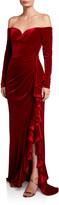 Badgley Mischka Off-the-Shoulder Long-Sleeve Velvet Column Gown w/ Asymmetric Skirt