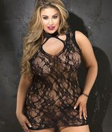 Shirley of Hollywood Stretch Lace Chemise Plus Size Lingerie - Women's