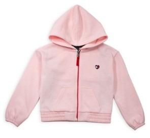 Tommy Hilfiger Toddler Girl Fleece Zip Hoodie with Pieced Flag