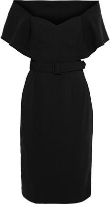 Badgley Mischka Belted Cape-effect Crepe Dress