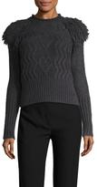 Temperley London Mohair Front Fringe Shoulder Sweater