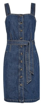 Dorothy Perkins Womens **Tall Blue Belted Denim Dress, Blue