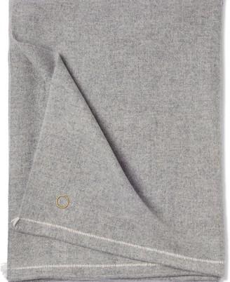Oyuna Sabra Classic Woven Contrast Border Cashmere Throw Soft Grey