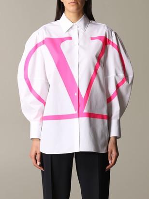 Valentino Poplin Shirt With Neon Logo