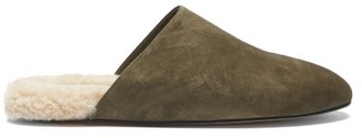 Inabo - Slider Suede And Shearling Slippers - Khaki