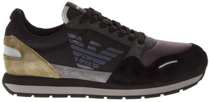 Emporio Armani Multicolor Suede & Fabric Sneakers