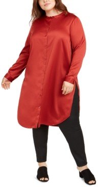 Eileen Fisher Plus Size Satin Mandarin Collar Tunic