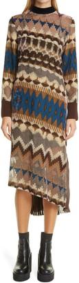 Sacai Nordic Opal Long Sleeve Pleated Dress